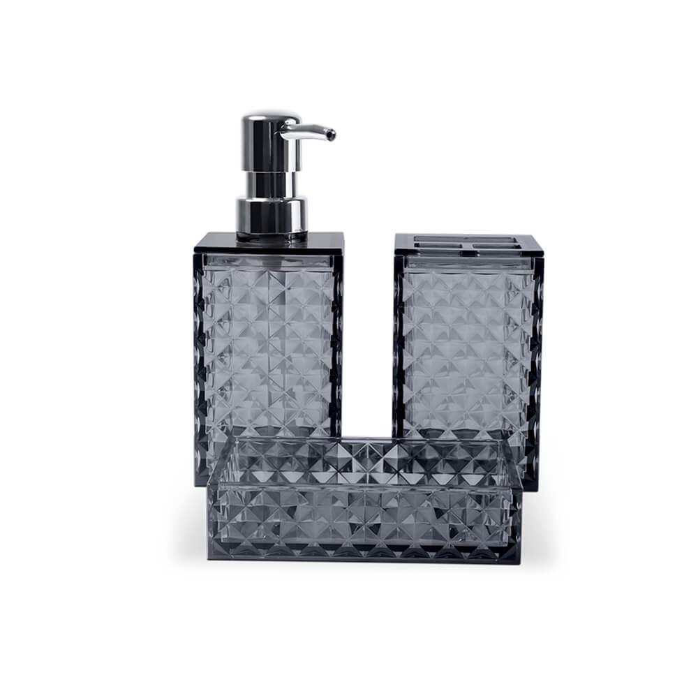 Jogo para Banheiro Lavabo 3 peças Classic Fumê - Haus Concept
