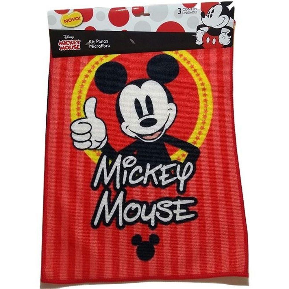 Kit com 3 Panos Microfibra para limpeza Mickey Mouse