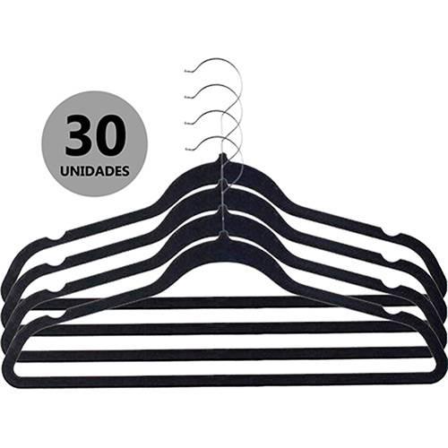 Kit de Cabides de Veludo Preto 30 Peças Casambiente