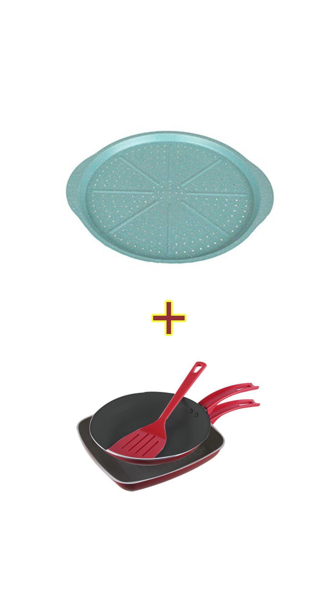 Kit Jogo com 1 frigideira 1 bistekeira AL012 + Forma para pizza 38x35cm