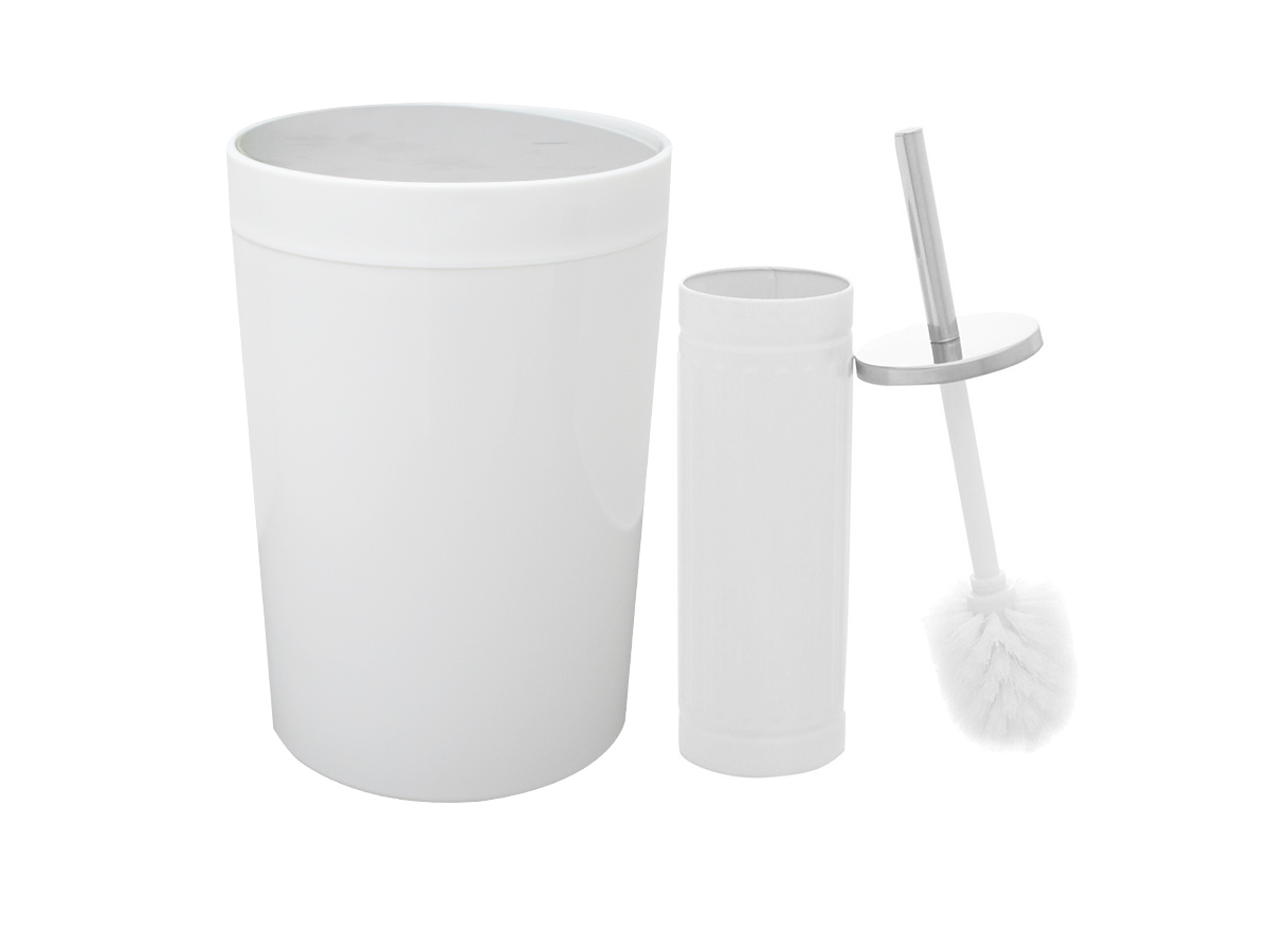 Kit Lixeira 5L e Escova Sanitária Branco e Prata - Casambiente