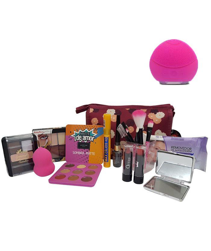 Kit Maquiagem Completa Ruby Rose + Esponja Elétrica + Necessaire de Brinde