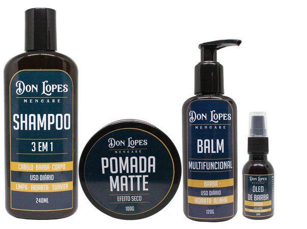 Kit para barba completo Combo Don Shampoo 3 Em 1+ Pomada Matte +  Óleo + Balm para Barba