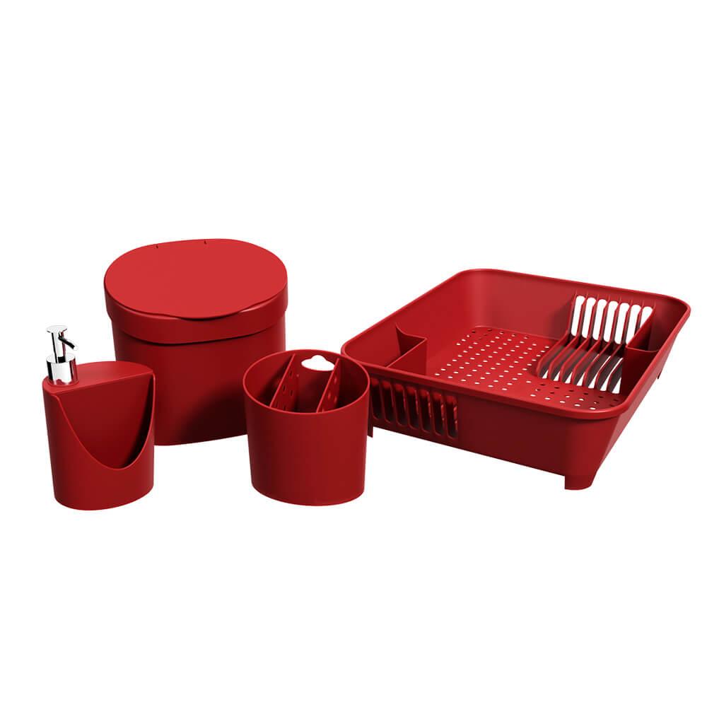 Kit Pia Cozinha Basic Vermelho 4 peças - Coza