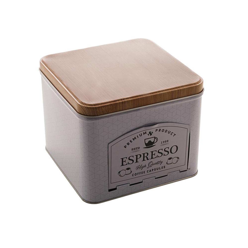 Lata Decorativa Porta Cápsulas Coffee Espresso - Lyor