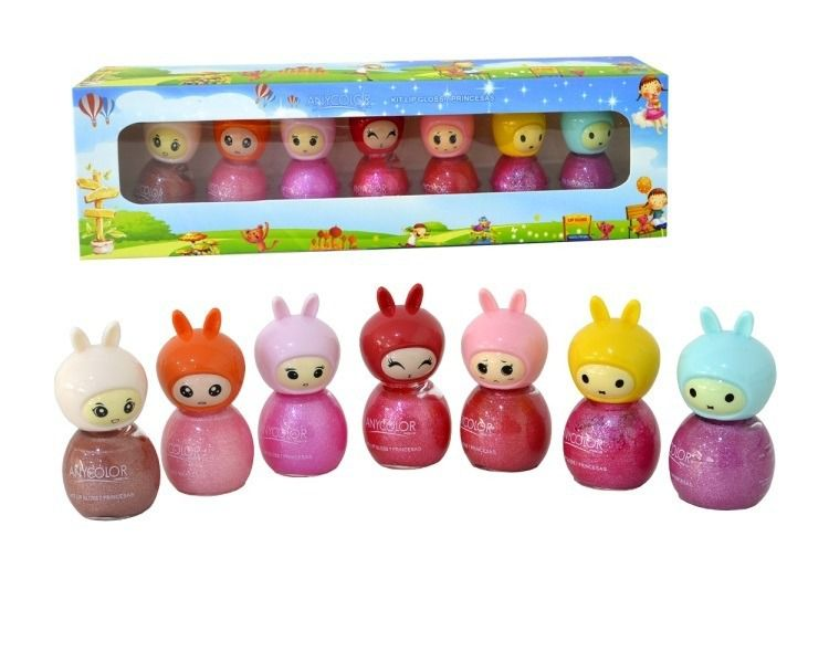 Lip Gloss Princesas Any Color 1410-38 - Kit Com 7 Unidades