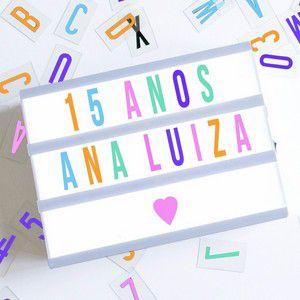 Luminária Palavras Letras Light Box Cinema Letreiro Led Rosa Colorido