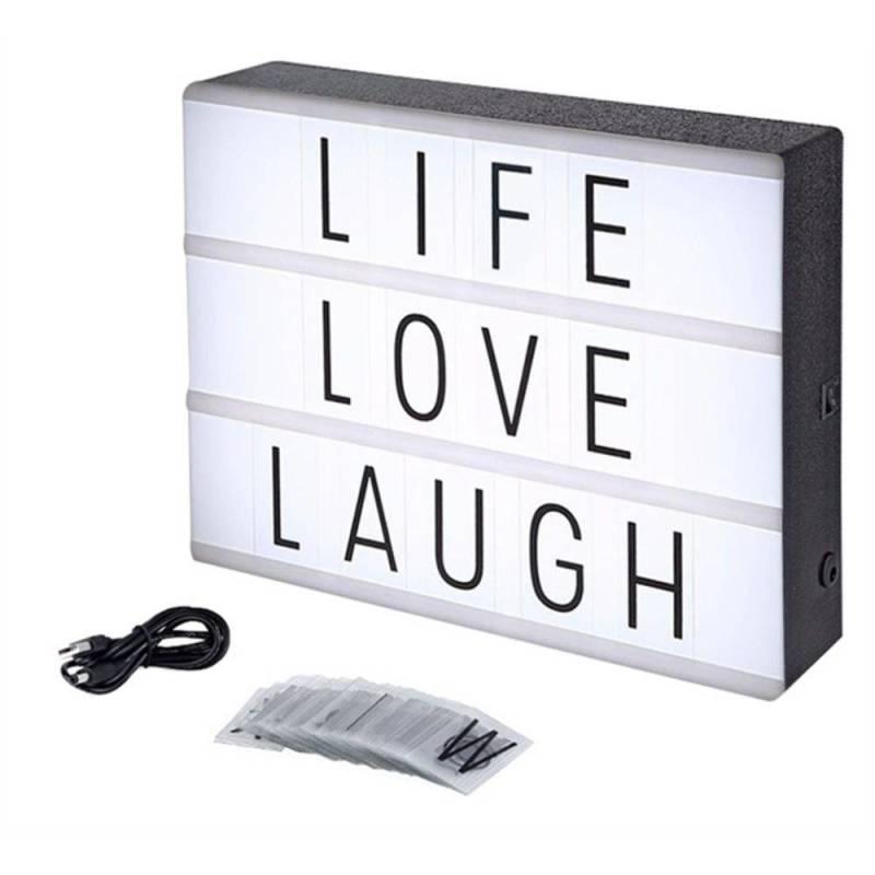 Luminária Palavras Letras Light Box Cinema Letreiro Led Usb