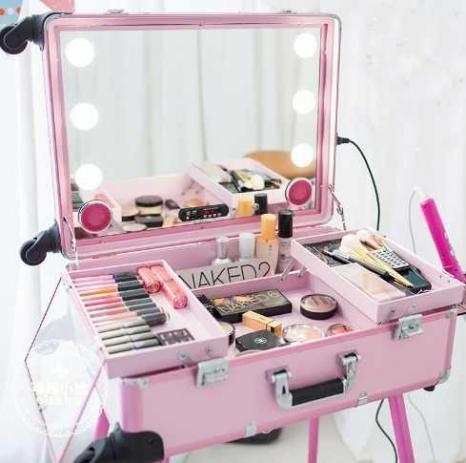 Maleta Camarim Rubys Maquiagem Profissional Bluetooth Makeup Rosa