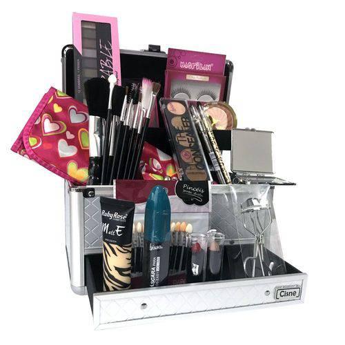Maleta de Maquiagem Grande Kit Completo Profissional Ruby Rose + Espelho de Bolsa