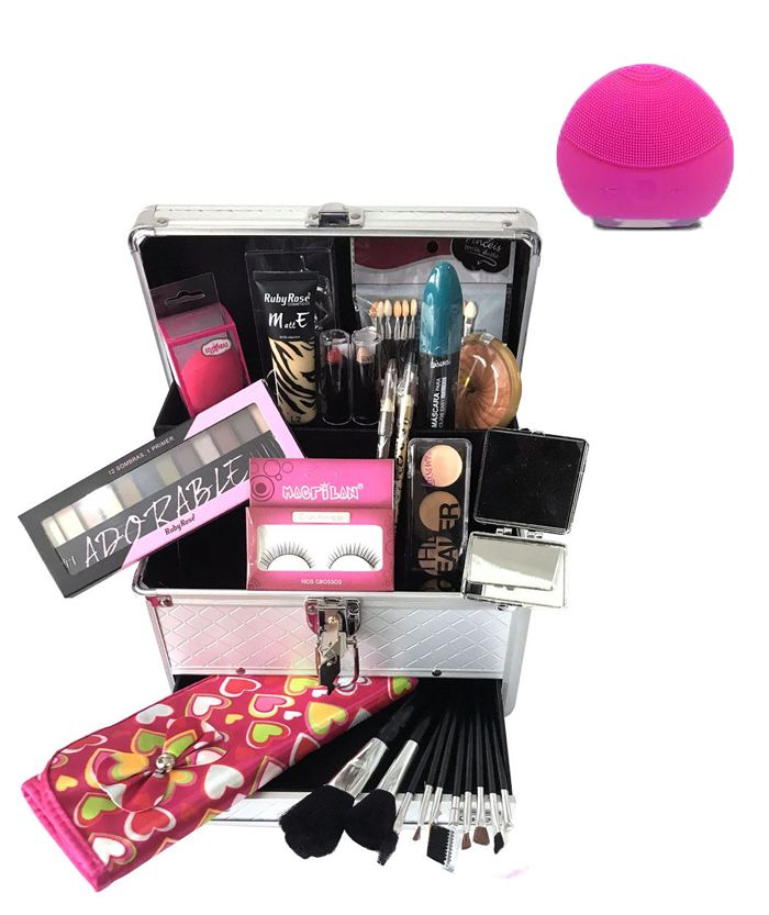 Maleta de Maquiagem Grande Kit de Maquiagem Completo Profissional Ruby Rose + Esponja Elétrica Brinde