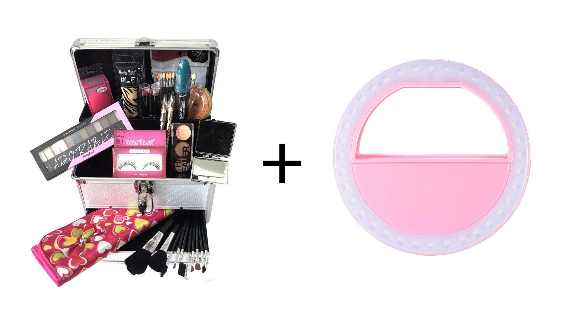 Maleta de Maquiagem Grande Kit de Maquiagem Completo Ruby Rose + Clipe Anel Led Flash