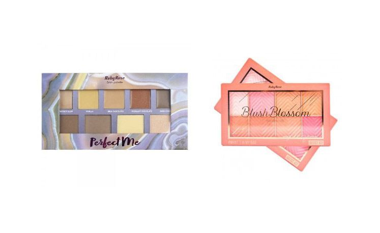 Paleta Perfect Me HB 7509 + PALETA DE BLUSH BLOSSOM RUBY ROSE HB-6112