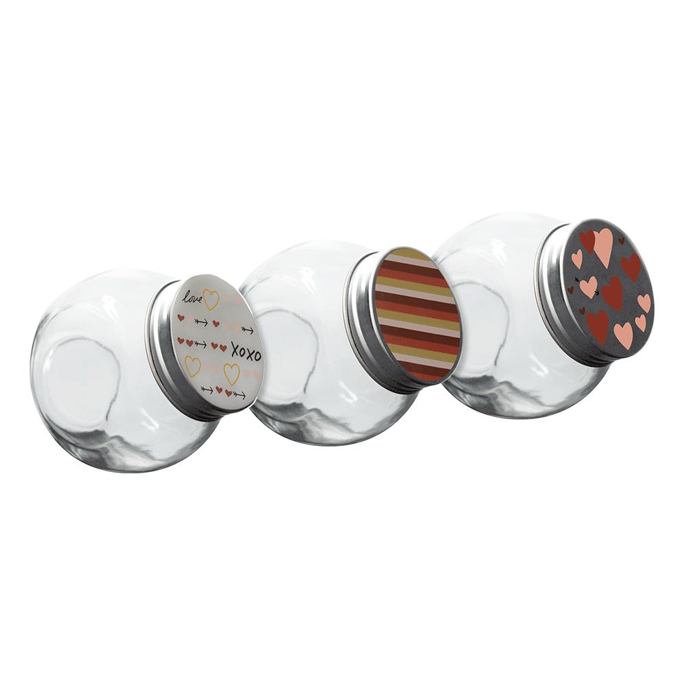 Potes de condimento 210Ml com tampa cromada Love 3 peças - POVI113