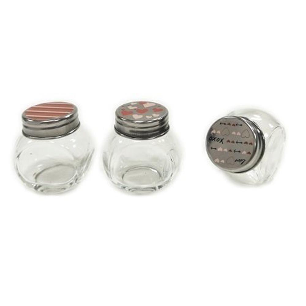 Potes de condimento 450Ml com tampa cromada Love 3 peças - POVI114
