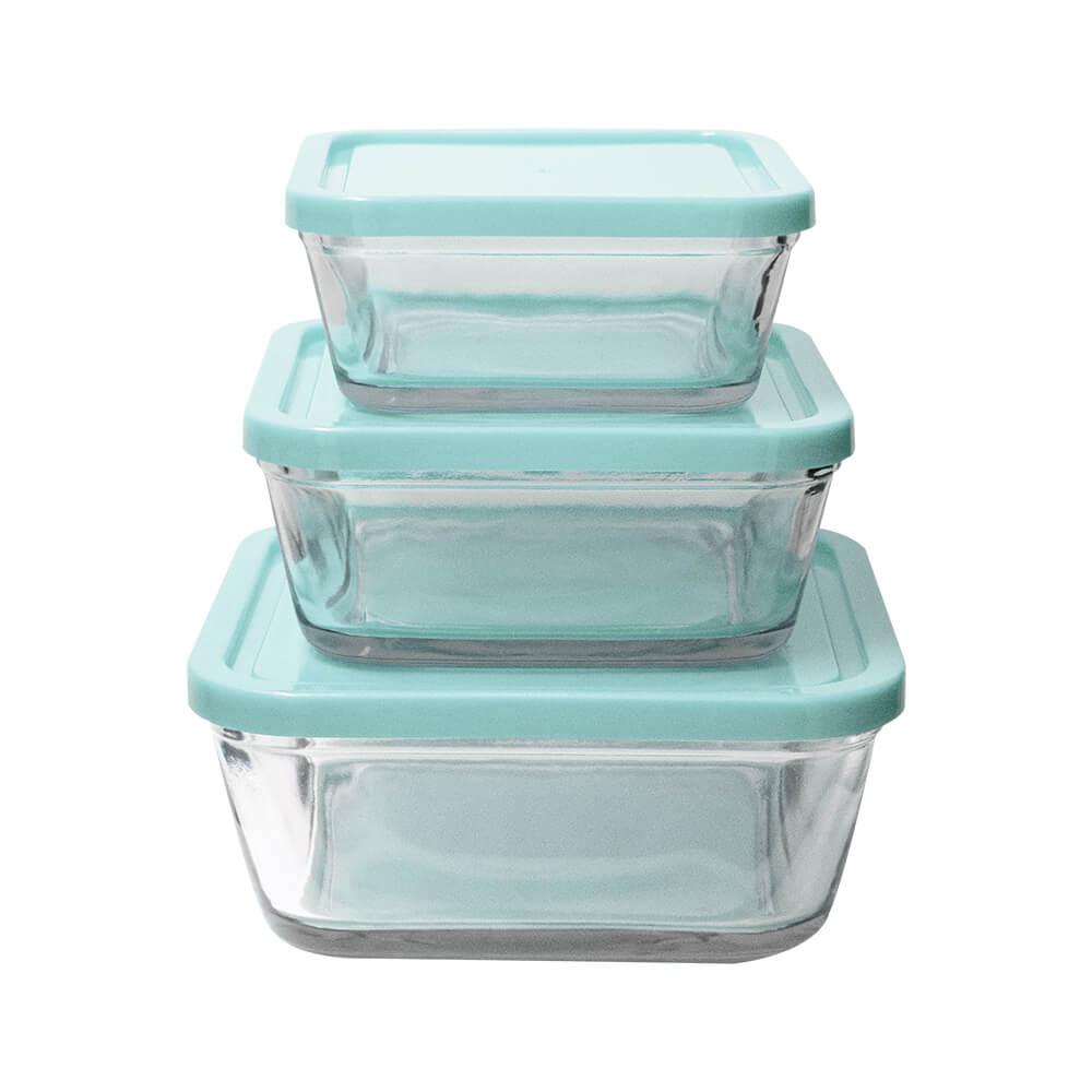 Potes Herméticos de Vidro Azul 3 peças - Casambiente