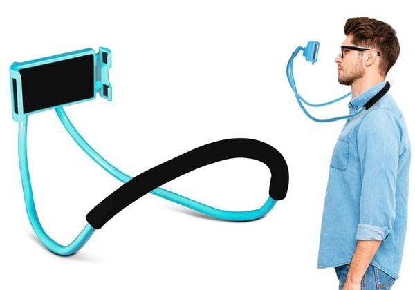 Suporte Celular Articulado De Pescoco Selfie Cama Mesa Sofa Azul