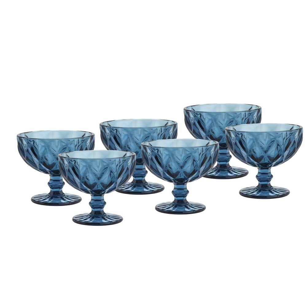 Taças de sobremesa em Vidro 310ml 6 peças Diamond Azul - Lyor