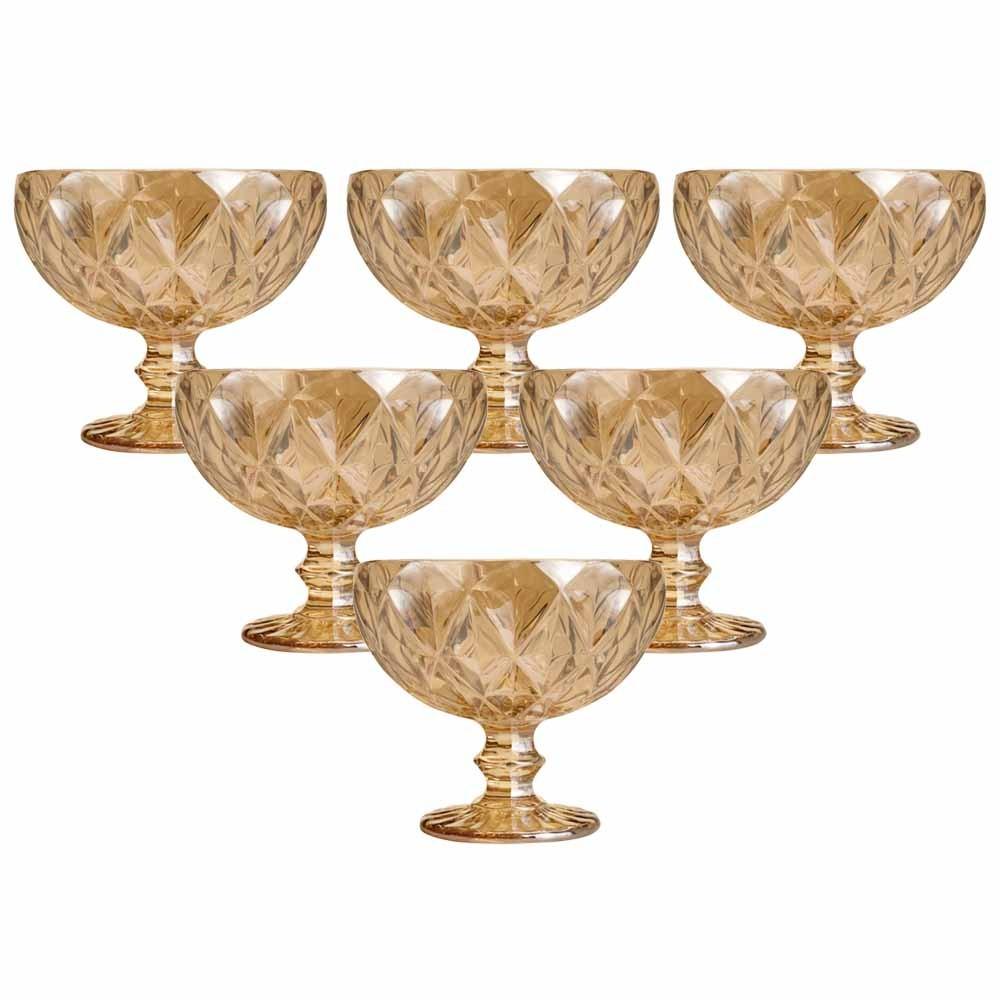 Taças de sobremesa em Vidro 310ml 6 peças Diamond Âmbar Metalizado - Lyor