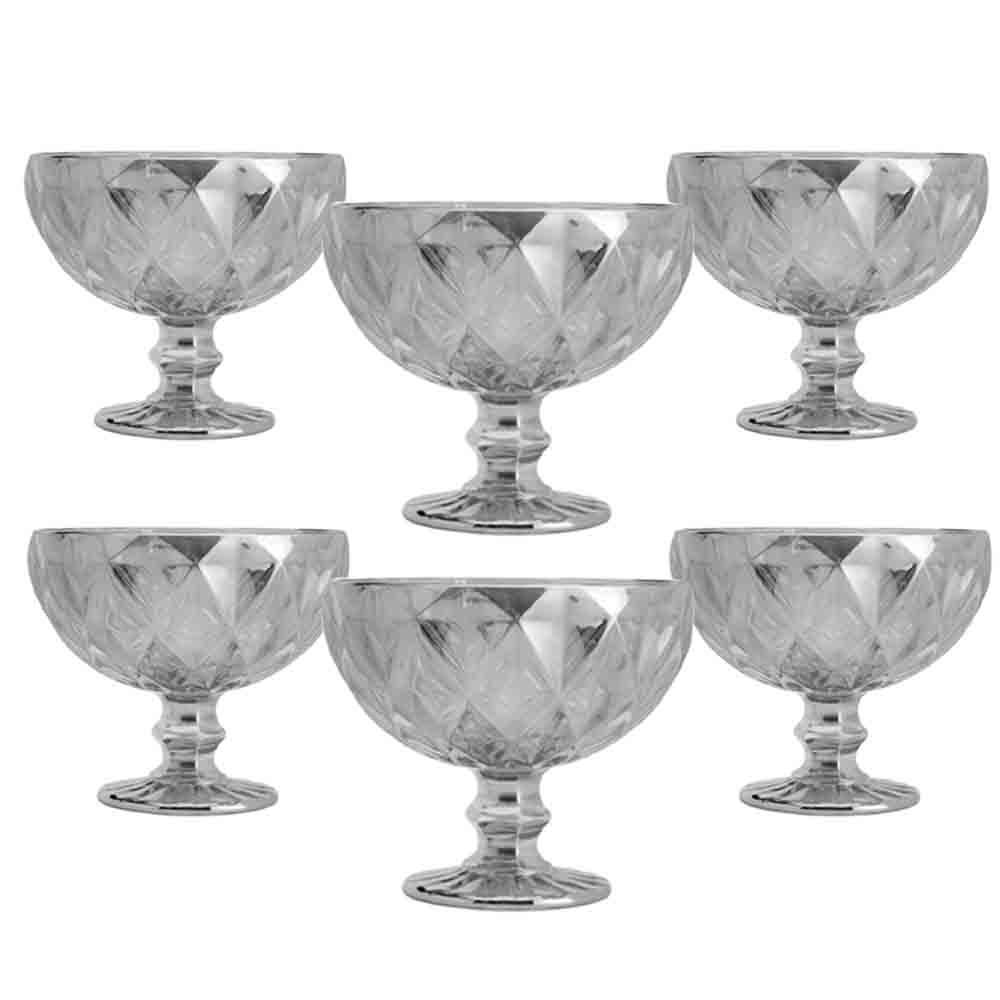 Taças de sobremesa em Vidro 310ml 6 peças Diamond Fumê Espelhado - Lyor