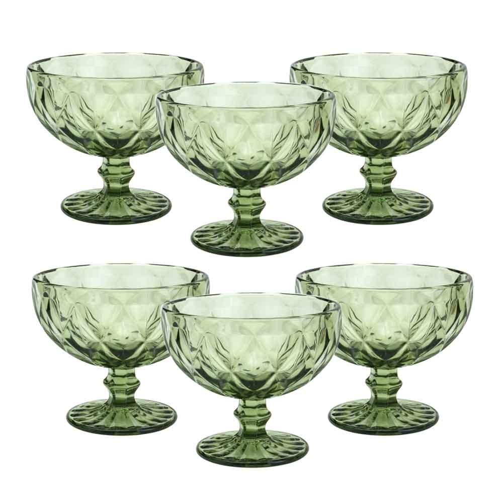 Taças de sobremesa em Vidro 310ml 6 peças Diamond Verde - Lyor