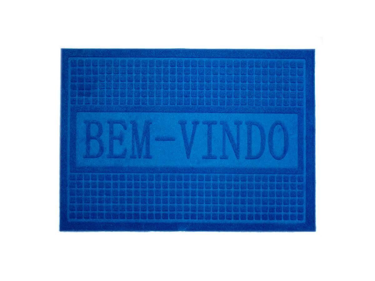 Tapete Bem-Vindo Azul 40x60cm - Casambiente