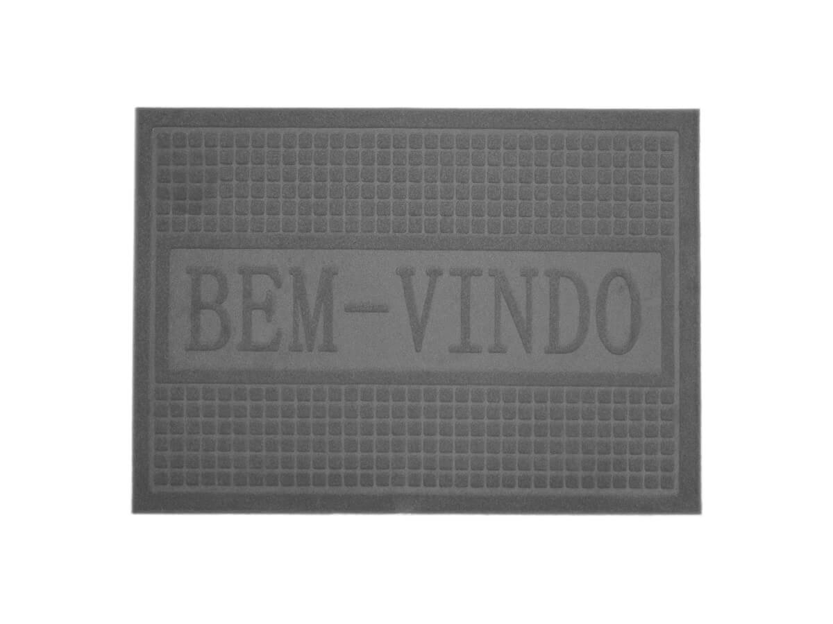Tapete Bem-Vindo Cinza 40x60cm - Casambiente