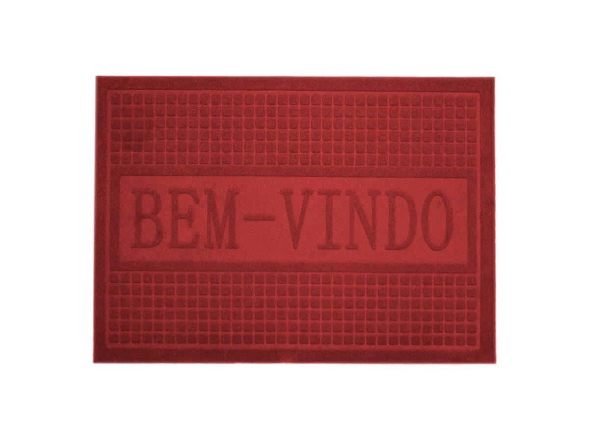 Tapete Bem-Vindo Vinho 40x60cm - Casambiente
