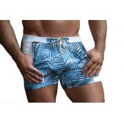 Bermuda & Sunga Boxer Grigo Collection Blue Forest com bolso