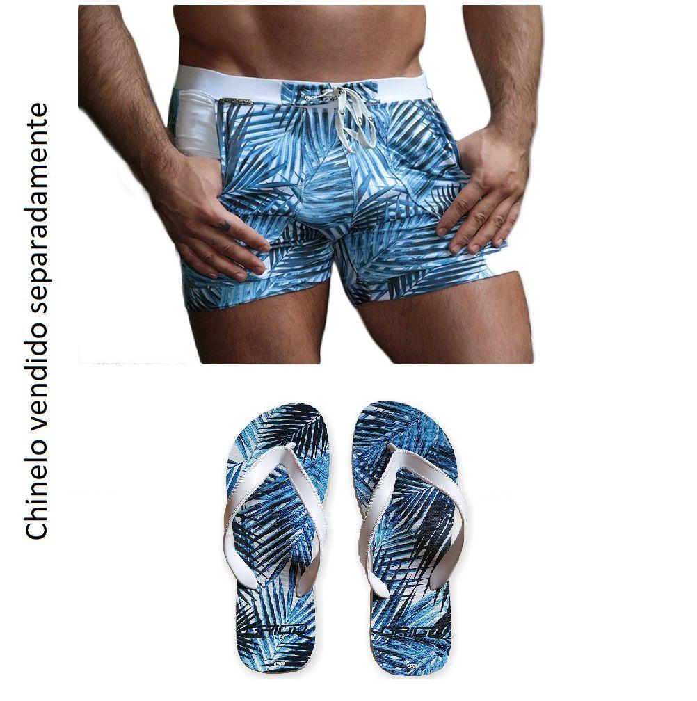 Bermuda & Sunga Boxer Grigo Collection Blue Forest com bolso