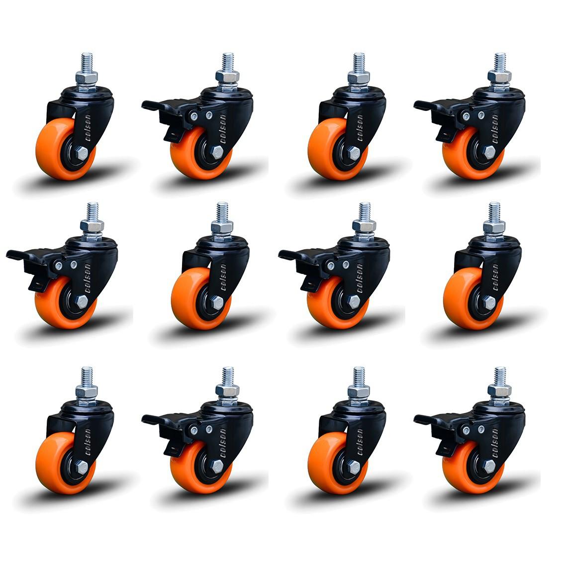 12 Roda Rodinha Black Parafuso 3/8 Geladeira Móveis 50mm 600kg