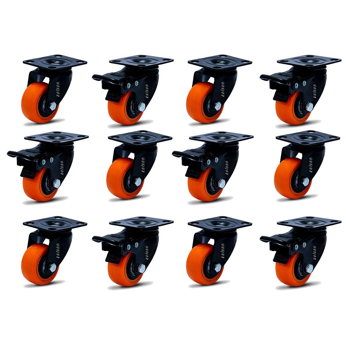 12 Roda Rodinha Giratória Black Lar Rodízio Móveis 41mm 360kg