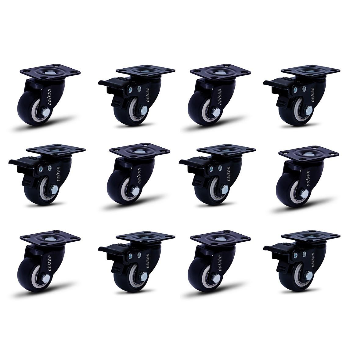 12 Roda Rodinha Giratória Black Rodízio Móveis 41mm 360kg