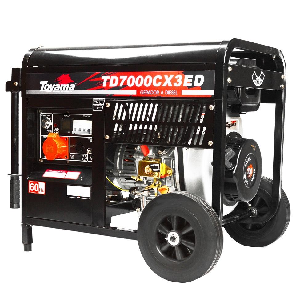 Gerador 6KVA a Diesel Trifásico 220V Partida Elétrica Toyama