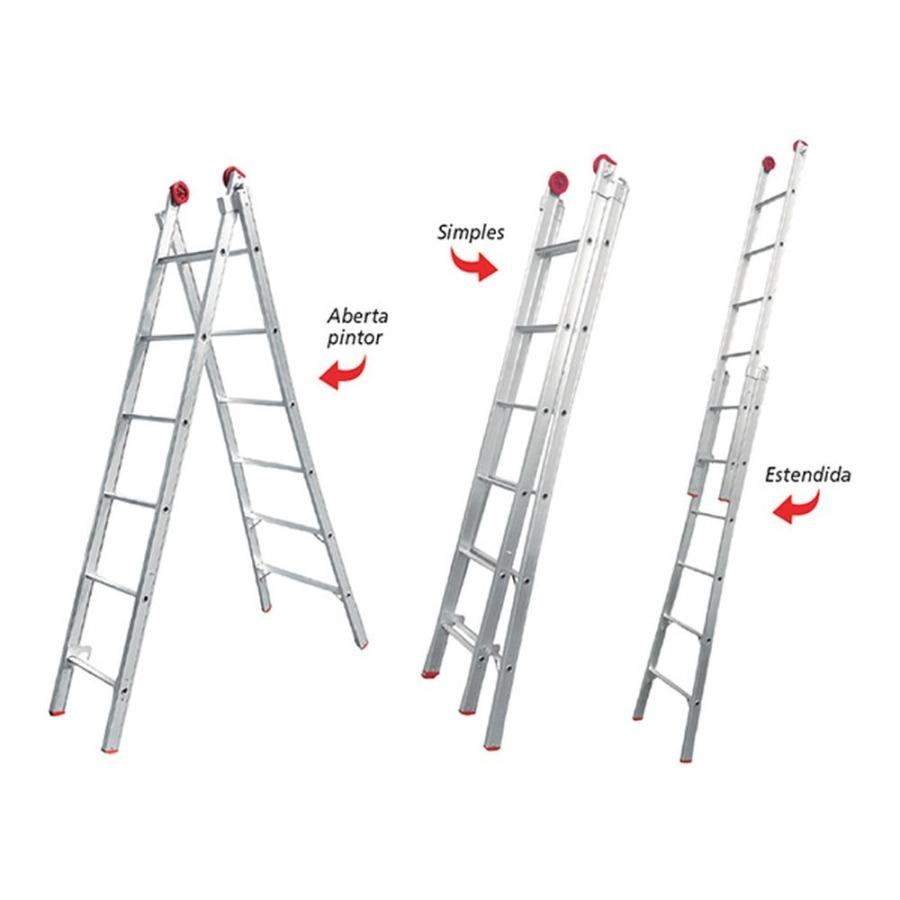 Escada de Alumínio Extensível Dupla 2X11 22 Degraus - Worker