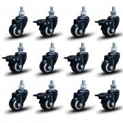 12 Roda Rodinha Black Paraf 3/8 Geladeira Móveis 41mm 360kg