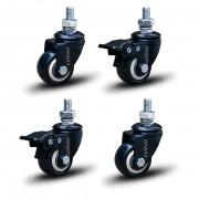 4 Roda Rodinha Black Paraf 3/8 Geladeira Móveis 41mm 120kg