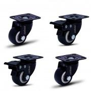 4 Roda Rodinha Giratória Black Rodízio Móveis 50mm 200kg