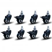 8 Roda Rodinha Black Paraf 3/8 Geladeira Móveis Rodízio 41mm 240kg