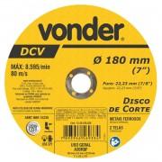Disco de Corte 180mm para Aço e Materiais Ferrosos Vonder
