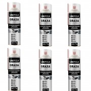 Kit Com 6 Graxa Branca Spray Aerosol 300ml 170g Unipega