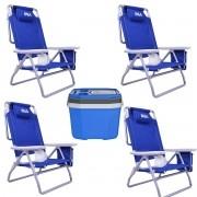 Kit Verão Com 4 Cadeiras Reclináveis Kala Brinde Cooler 20L