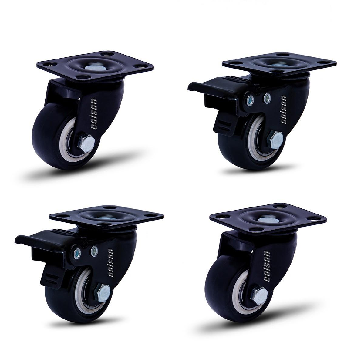 4 Roda Rodinha Giratória Black Rodízio Móveis 41mm 120kg