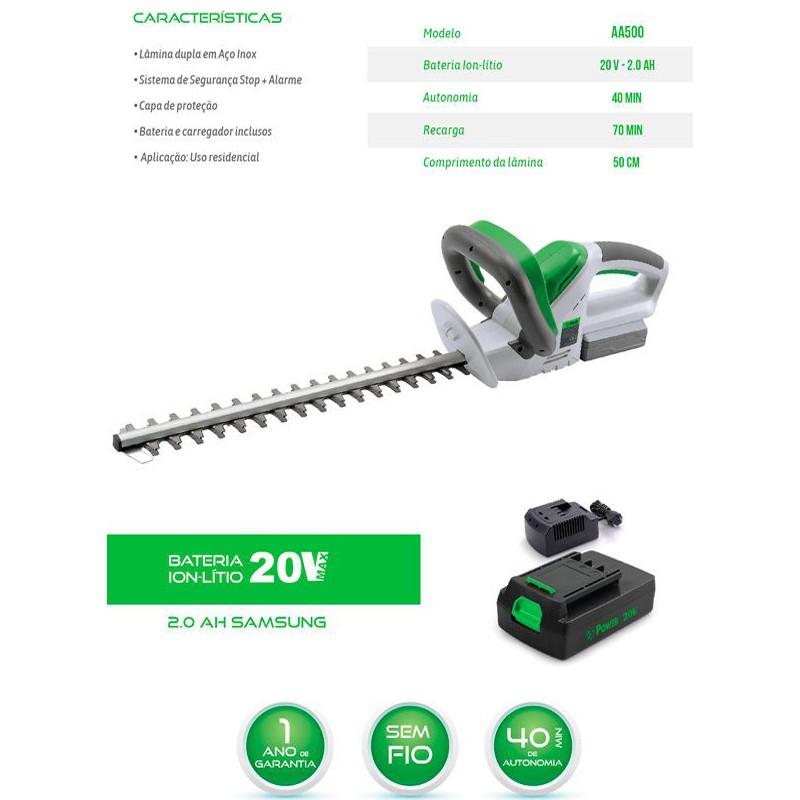 Aparador de Cerca Vivas a Bateria 20V 127/220V Powerusa