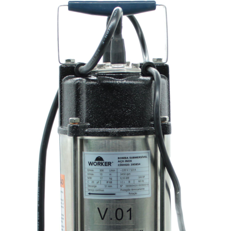 Bomba Submersa Limpa Fossa Aço Inox 1HP 750W  220V Worker