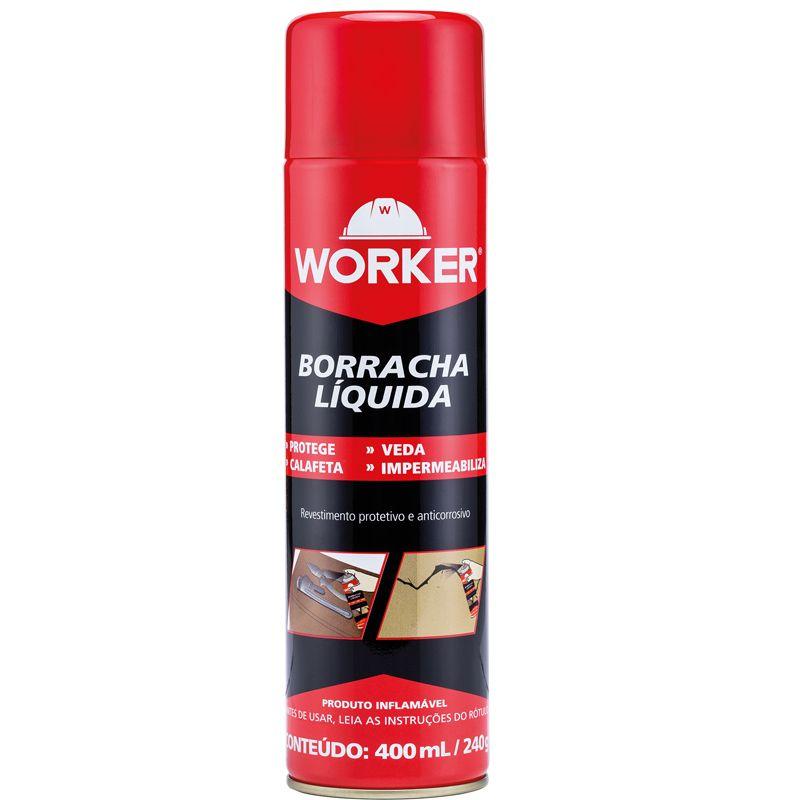 Borracha Liquida em Spray Cor Preta 400ML 240Gr Worker