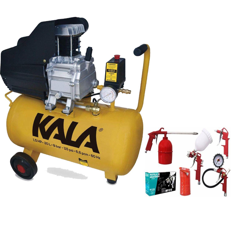 Compressor de Ar 20 Litros 1,5HP Com Kit Pintura Kala