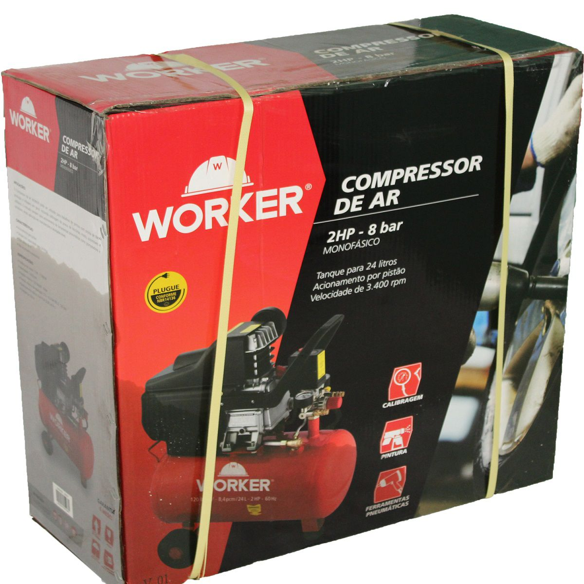 Compressor de Ar 24L 2HP 8BAR Worker