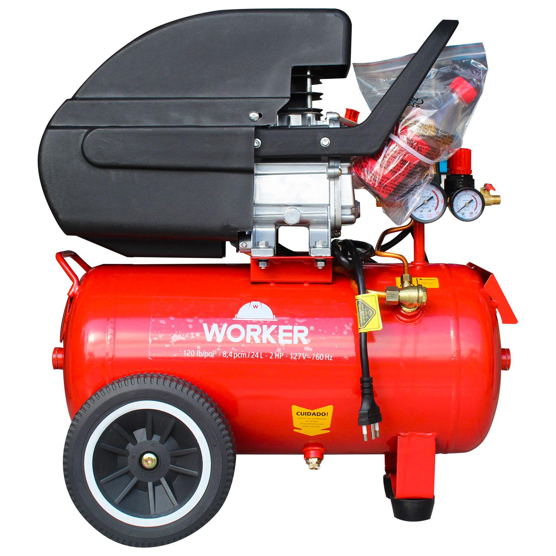 Compressor de Ar 24L 2Hp com Kit Pintura 5 Peças Worker