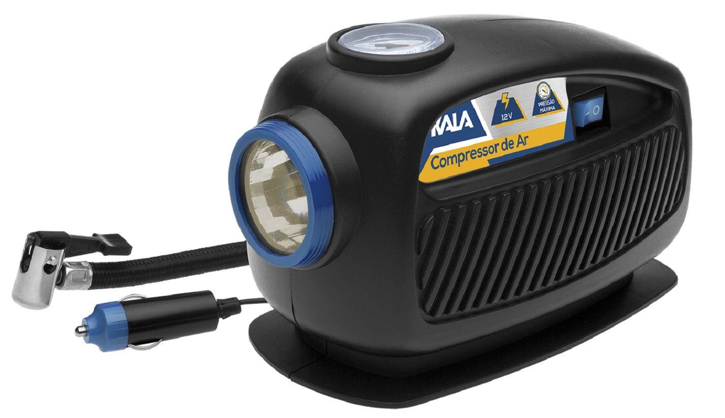 Compressor de Ar e Lanterna 12V 3 em 1 Enche Pneu e Bola Kala